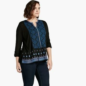 Lucky Brand Plus Size Embroidered Blouse Top